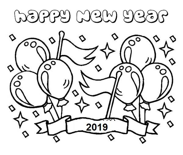 Happy new year party coloring pages 2019 cards new - Color for new year 2019 ...