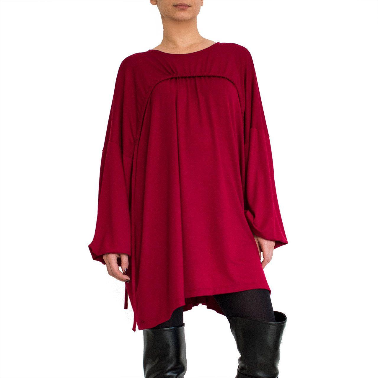 Drape oversized tunic dress plus size top long sleeve tunic top red