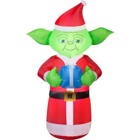 Christmas Inflatable.5 Airblown Inflatable Yoda With Present Star Wars Christmas