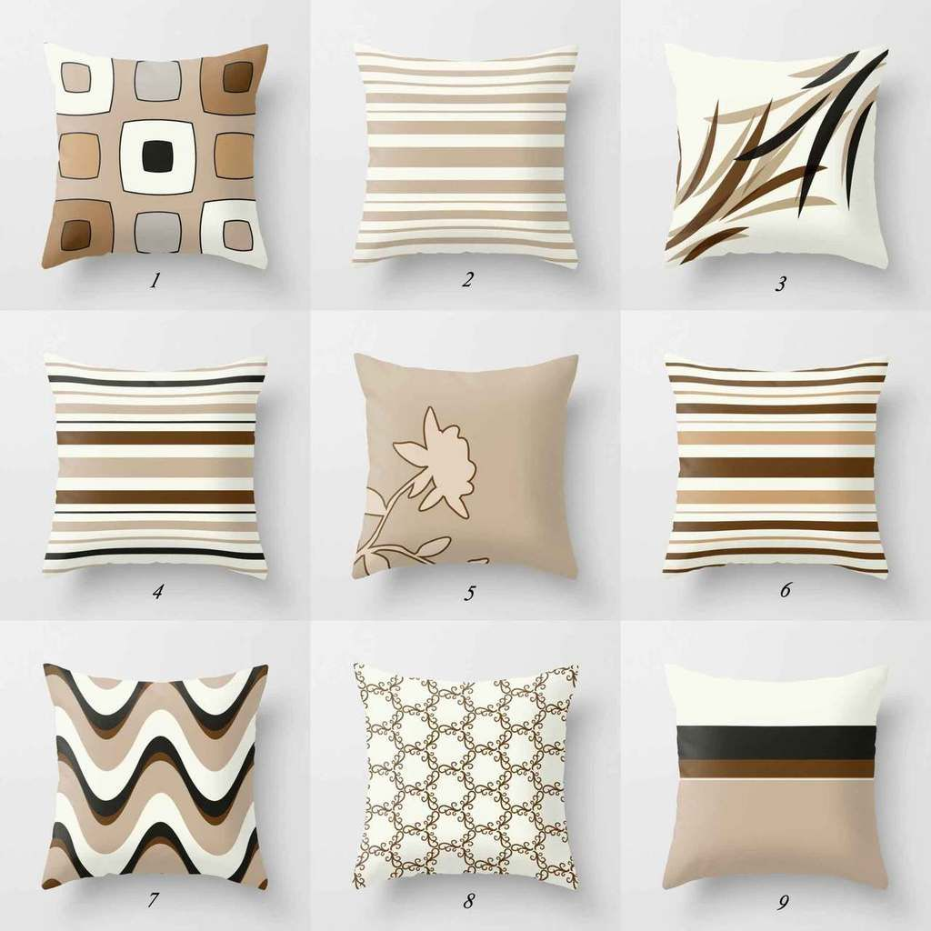 Brown Beige Throw Pillow Covers Mix Match Decorative Pillow Cases