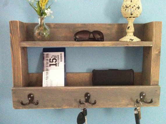 Rustic Entryway Shelf, Key Holder, Mail Organizer, Weathered Gray Shelf  With Hooks, Kitchen Shelf, Farmhouse Shelf