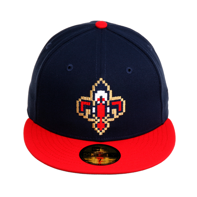 sports shoes 9dcc4 33dee Exclusive New Era 59Fifty New Orleans Pelicans Pixel Hat - 2T Navy, Red,  40