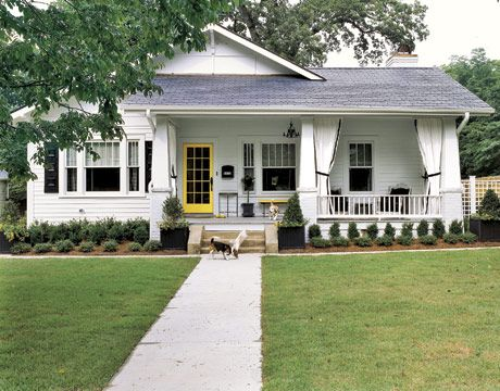 How A Sunny Home In North Carolina Decorates With Yellow Bungalow Porch Craftsman