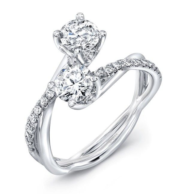 Uneek Fine Jewelry Two-Stone Diamond Ring with Infinity-Style ...