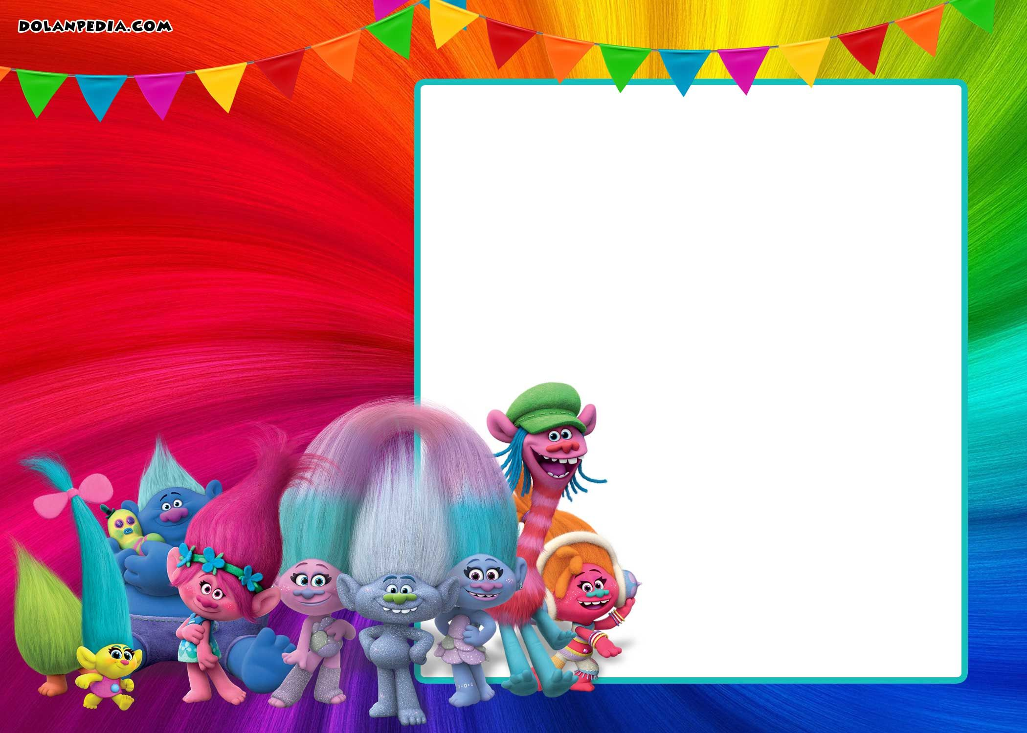 FREE Printable Trolls Invitation