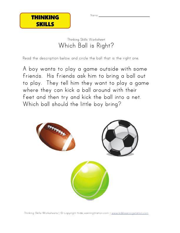 thinking activity worksheet sports | pre school&k | Pinterest ...
