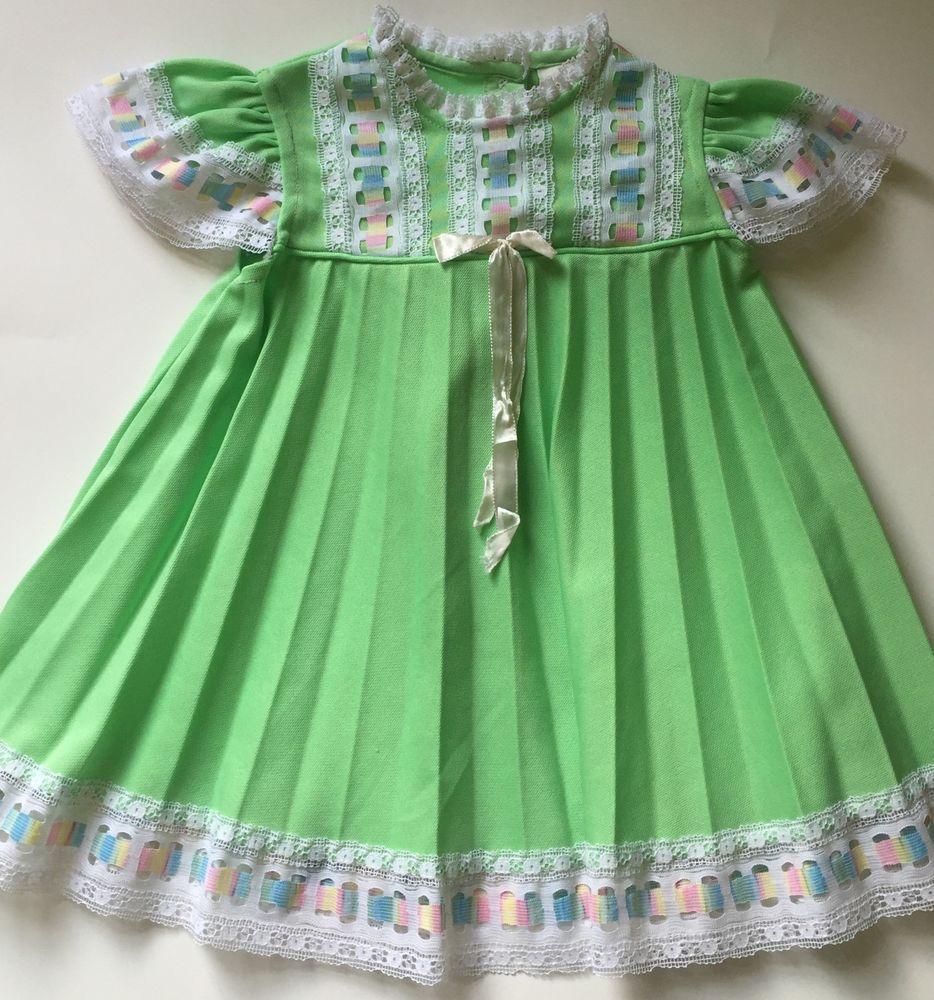 White pinafore apron ebay - Vintage Sears Green Pleated Dress White Pastel Lace Trim Toddler Girl Size 3 Ebay
