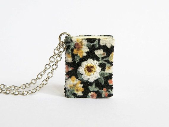 Miniature book necklace Large embroidery by hersweetembrace, $27.00