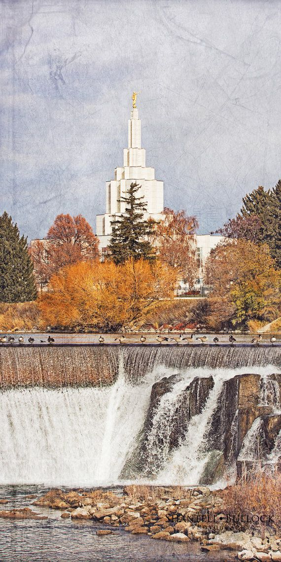 Idaho Falls Temple Waterfall and Geese by ShantellBullockPhoto, $130.00