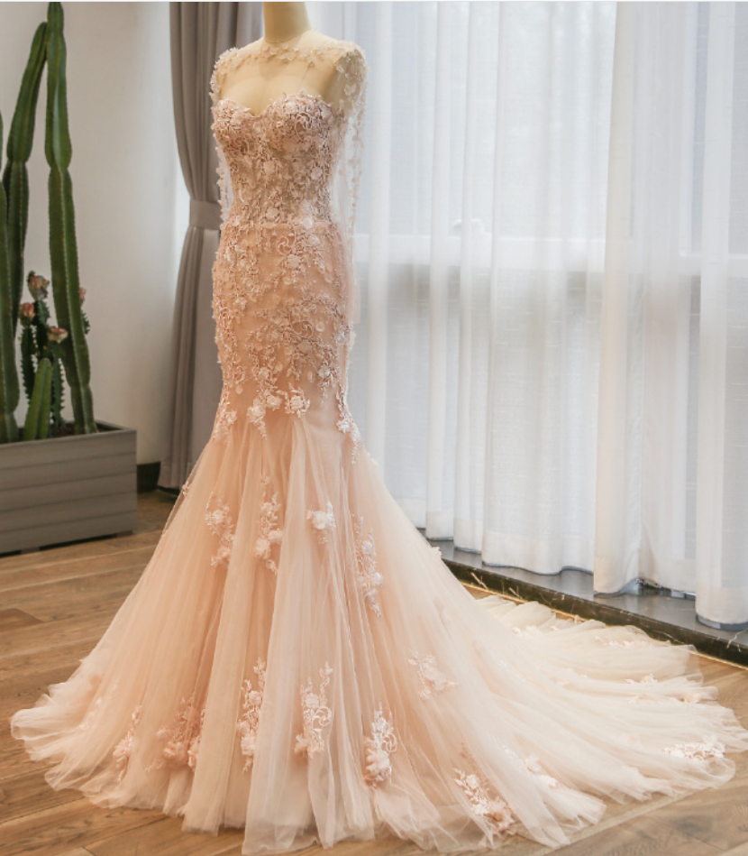 Elegant wedding dress mermaid lace wedding dresspink wedding prom