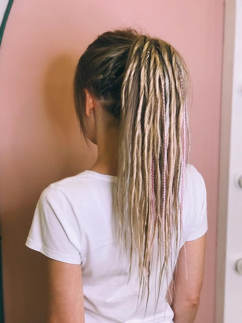 Synthetic Dreads, Mix Dreadlocks and Braids Natural Blond with Accessories, dreadlocks extensions DE or SE