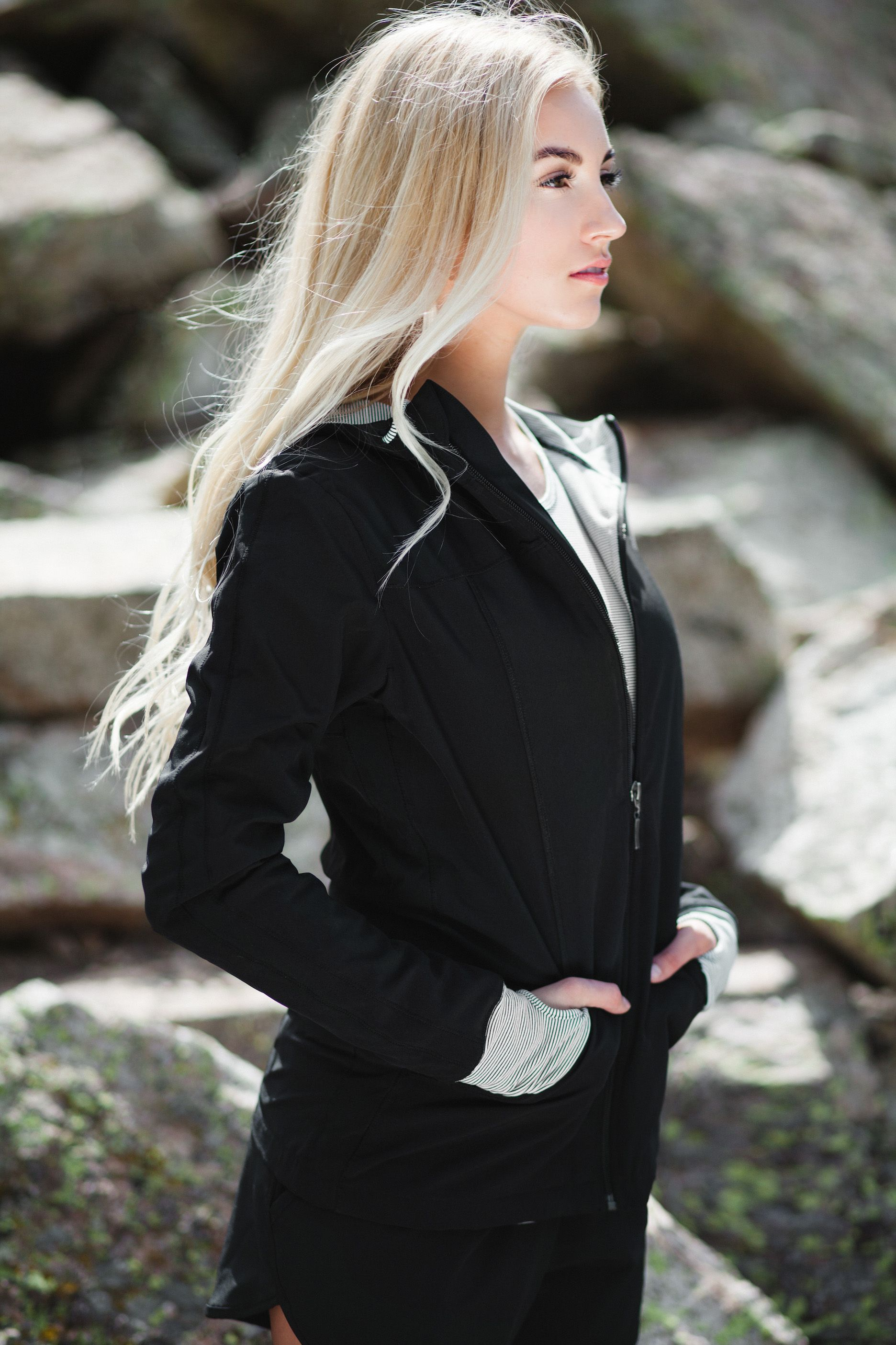 NEW!!! introducing our sporty & slimming {Escape Zip Up Hoodie} pair with our sprinter shorts or high waisted leggings for the perfect casual or fitness outfit | @albionfit
