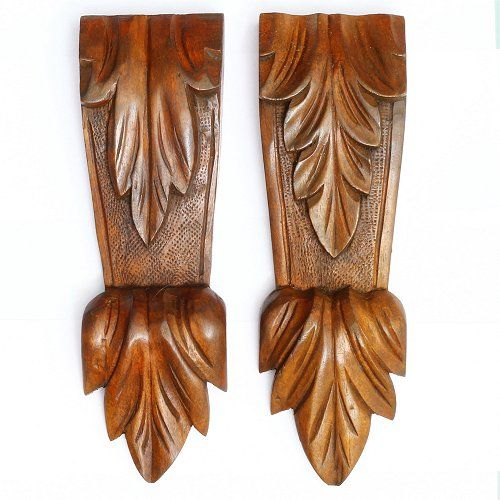 A similar pair of hand-carved Mahogany Corbels in good condition. Fully restored and finished in shellac and wax.