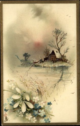 tuck new year house flowers landscape gilt border c1910 postcard