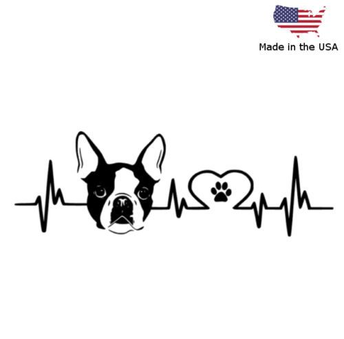 Boston terrier love pulse vinyl decal car bumper window