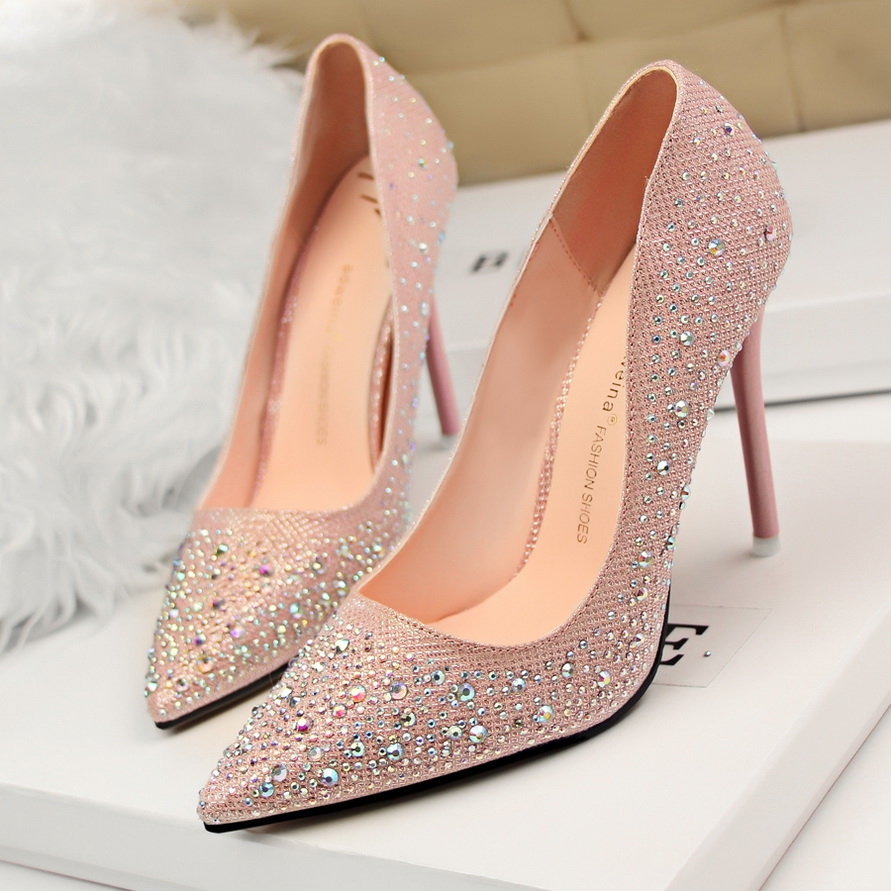 69.80$  Watch now - http://alidsf.worldwells.pw/go.php?t=32683403056 - Sexy Bottom High Heels Pointed Toe Women Pumps Patent Leather Rhinestone Ladies Shoes Party Women's Pumps Sapatos De Salto Alto 69.80$