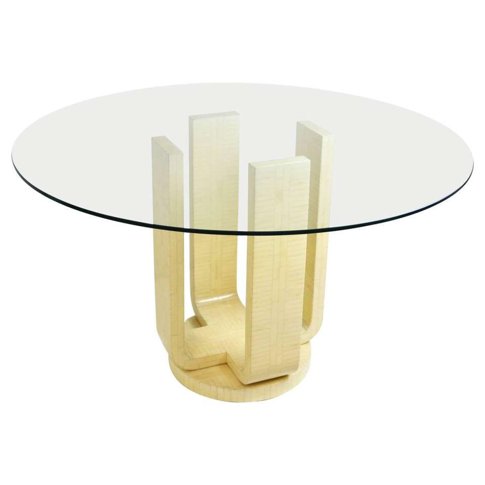 Karl Springer Style Tessellated Bone Dining Table With Glass Top With Images Glass Dinning Table Vintage Style Table Decor Glass Dining Table