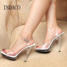 c1ca73efa Mulheres Casamento De Cristal Transparente sapatos de Salto Alto Sandálias  de Plataforma de Verão Feminino À