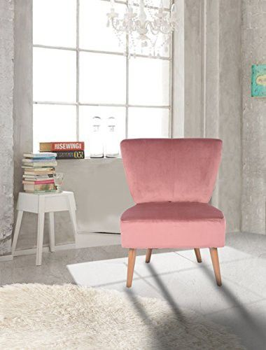 Rose Velvet Accent Chair Lounge Living Bedroom Room with Wood legs ...