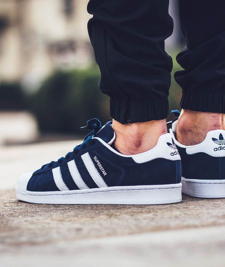Adidas Superstar Black And White Suede