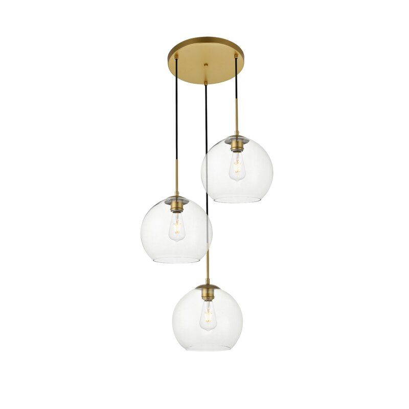 Snead 3 Light Kitchen Island Pendant Elegant Lighting Glass Shades Globe Pendant