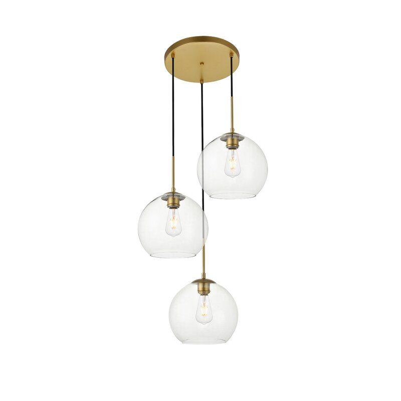 Baxter 3 Light Cluster Globe Pendant Globe Pendant Globe Pendant Light Mid Century Modern Lighting Pendant