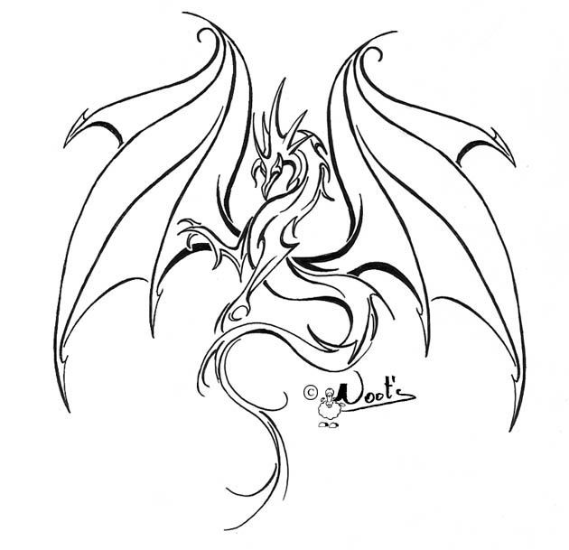 Line Drawing Dragon Tattoo : Best outline dragon tattoo design …