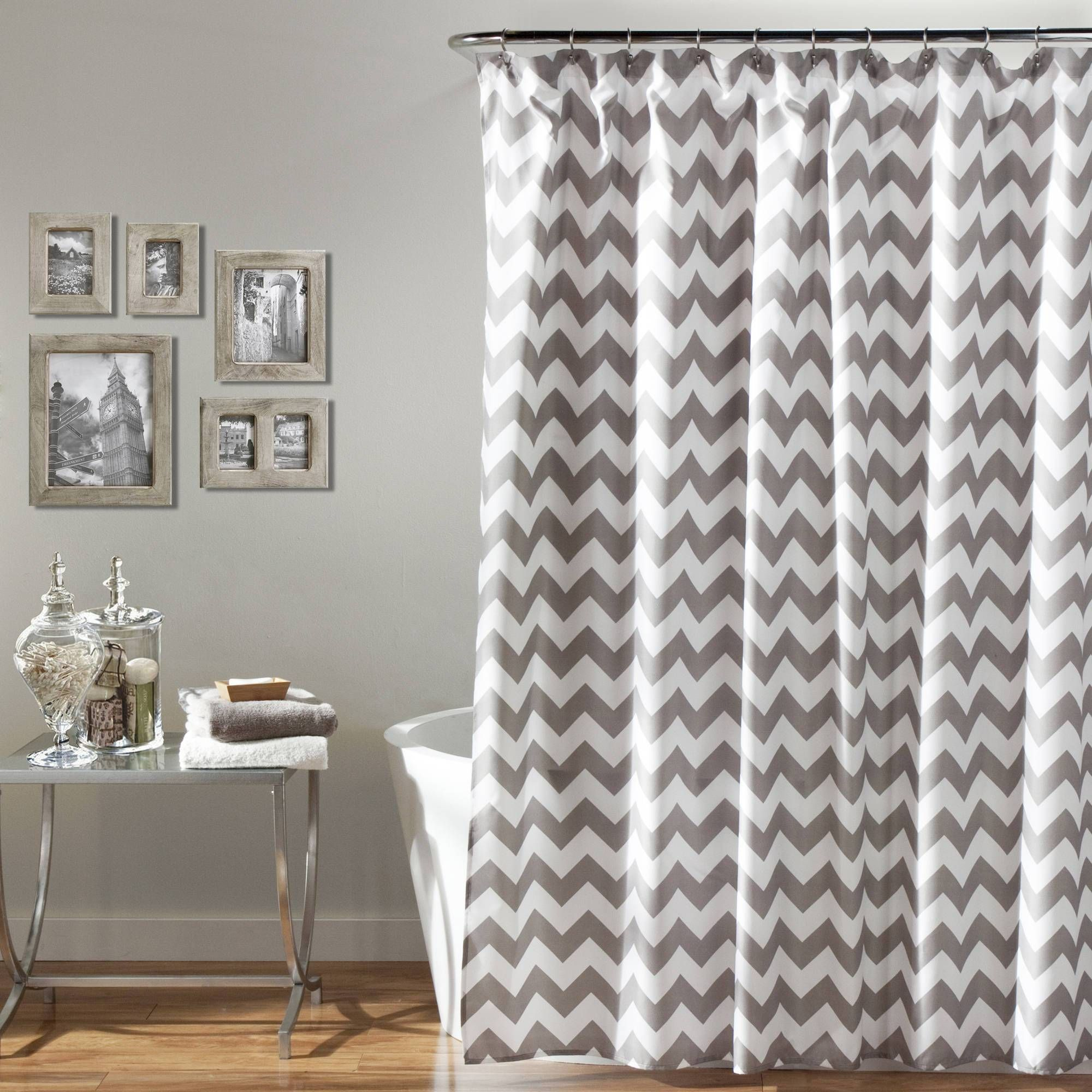 Echelon Home Chevron Shower Curtain Chevron Shower Curtain Gray