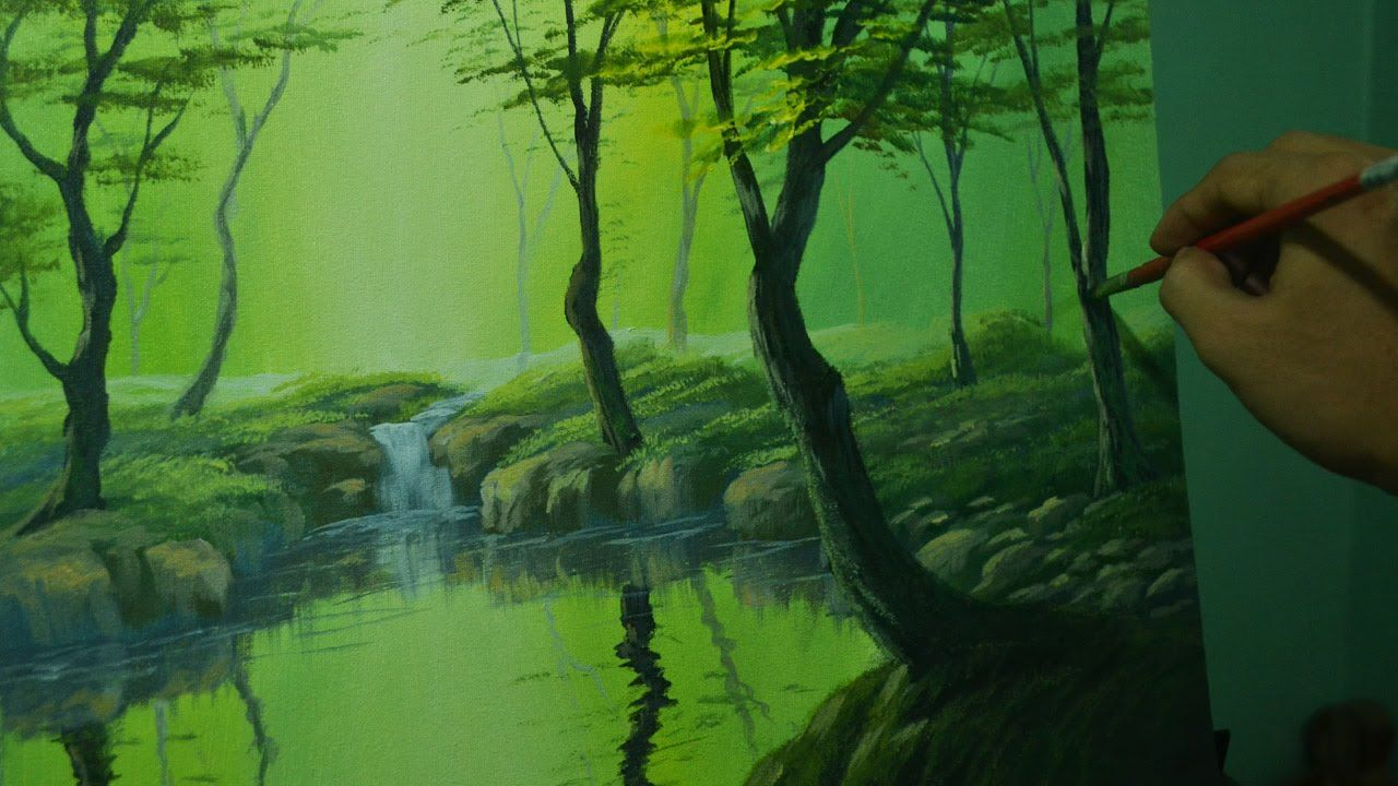 Acrylic Landscape Painting Lesson The Forest River By Jm Lisondra Landscape Painting Lesson Landscape Painting Tutorial Painting Tutorial