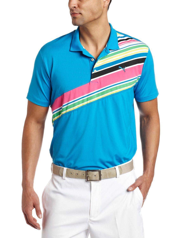 Puma Mens Stripe Tech Short Sleeve Golf Polo
