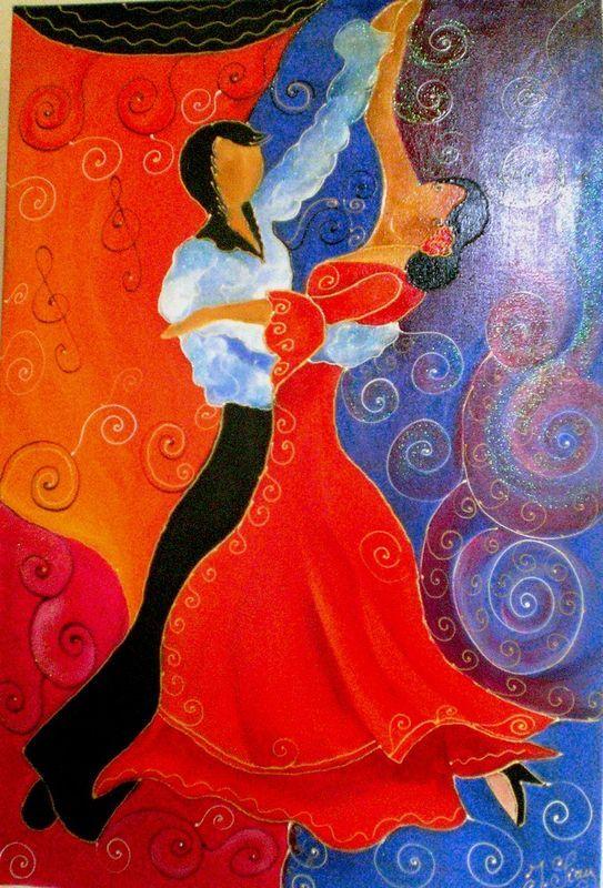 Couple danseurs flamenco acrylique sur toile ca danse pinterest flam - Pinterest tableaux peinture ...