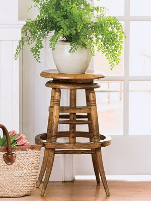 Elevate an everyday houseplant to greatness by displaying it on a stylish stool.