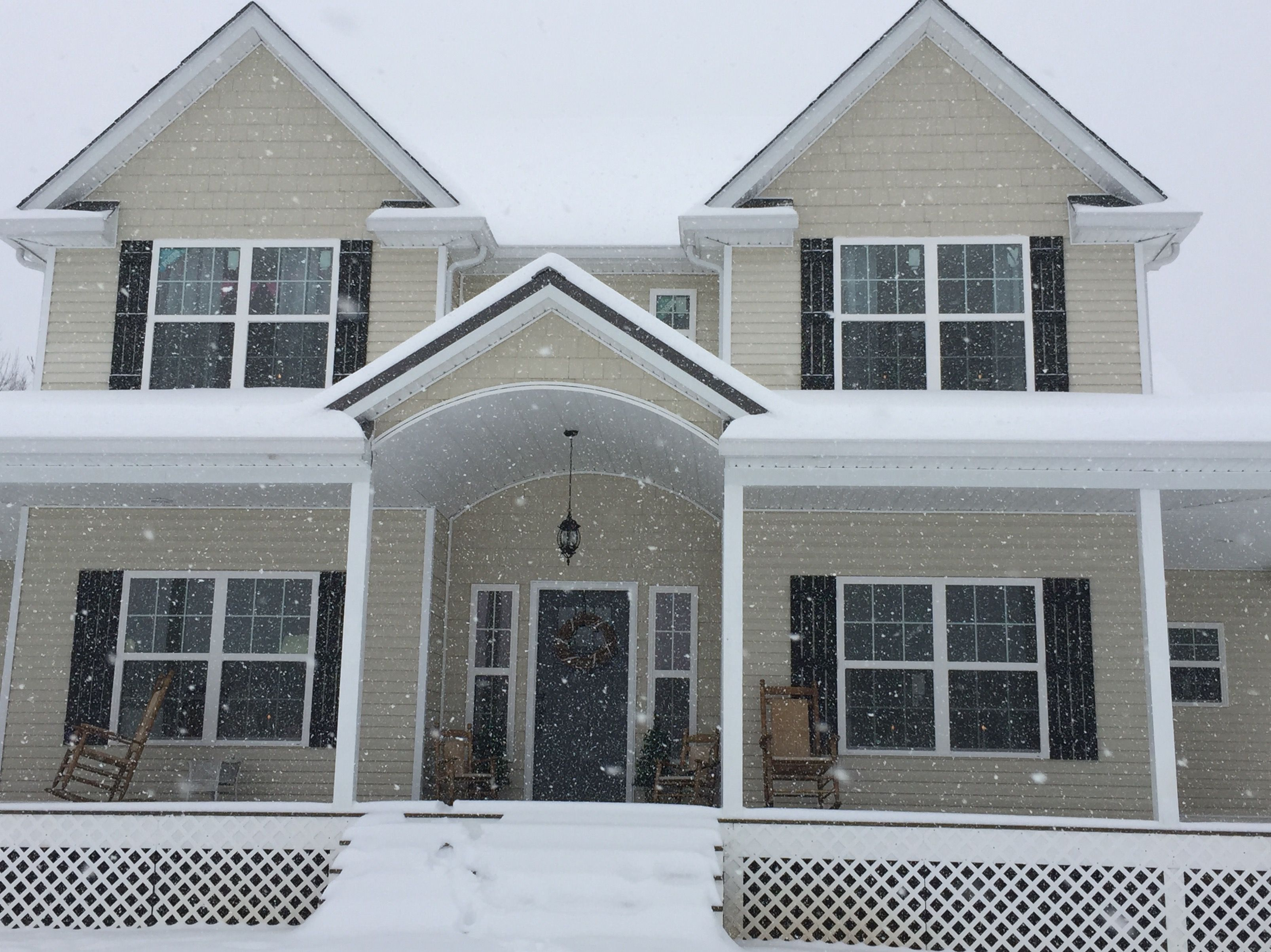 Gray Entry Door Black Shutters Almond Siding In The Snow Red Entry Door Black Shutters Patio Door Coverings