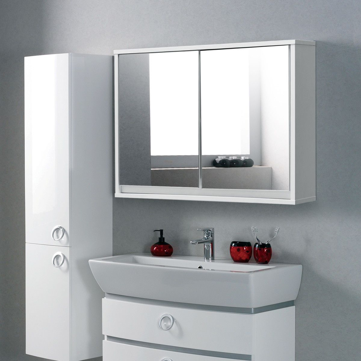wall mounted bathroom cabinet double mirror door shelf furniture rh pinterest com