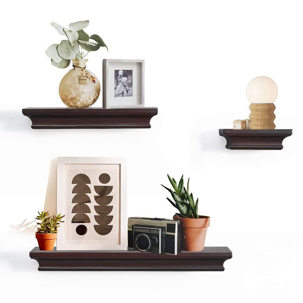 Ahdecor Floating Shelves Ledge Shelf Espresso 4 Inches Deep Set Of 3 Pcs Lavorist Floating Shelves Cube Wall Shelf Floating Wall Shelves