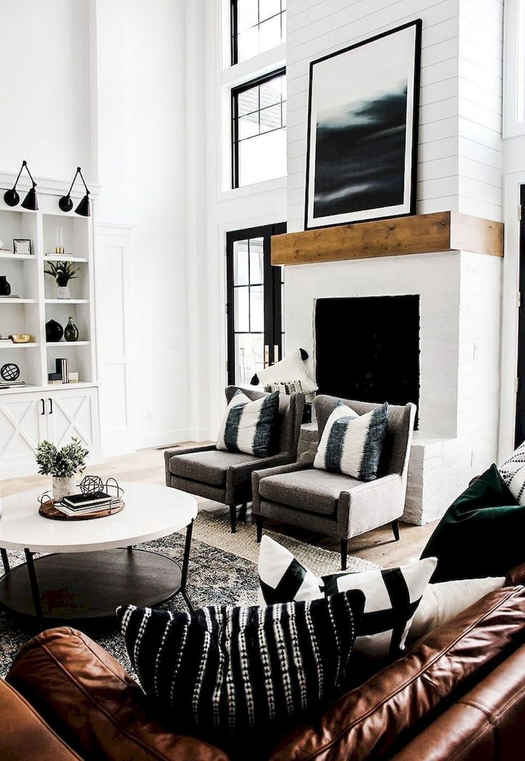 24 charming modern farmhouse living room makeover ideas