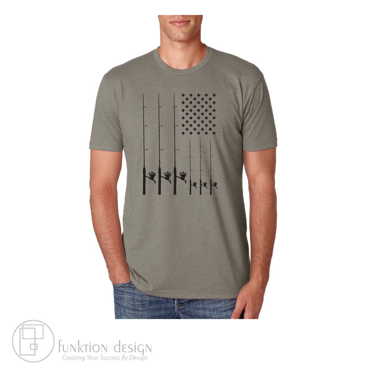 Download Casting Pole Fishing American Flag T-shirt by ...