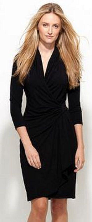 Timeless Fashion Chic And Stylish Karen Kane Black Cascade Wrap