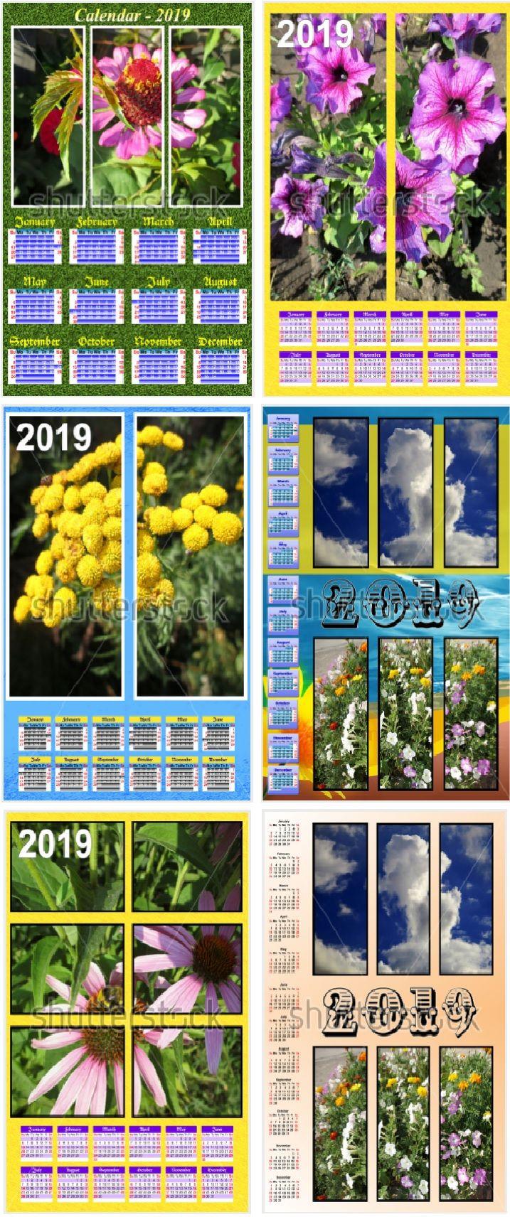Calendar modular for 1 year . Calendar design , 2019