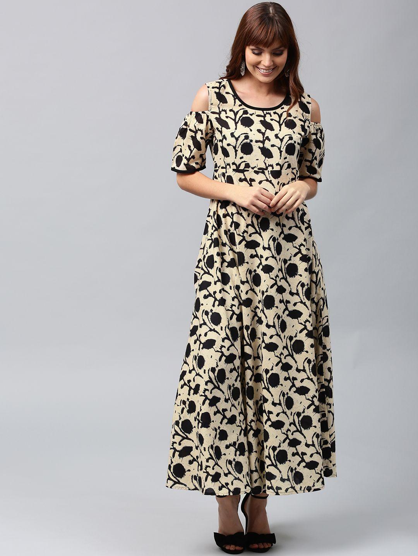 112e94e91f4 AKS  Cream-Coloured    Black  Printed  Anarkali  Kurta  women  fashion   style