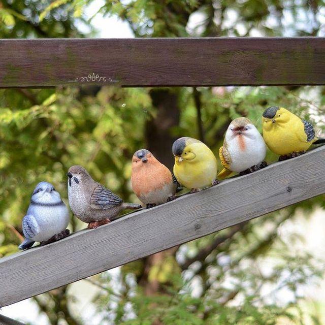 6pcs/lot Jardin Garden Decoration Decorative Artificial Birds Kawaii Resin Crafts Home Decor Ornaments Artesanato Manualidades