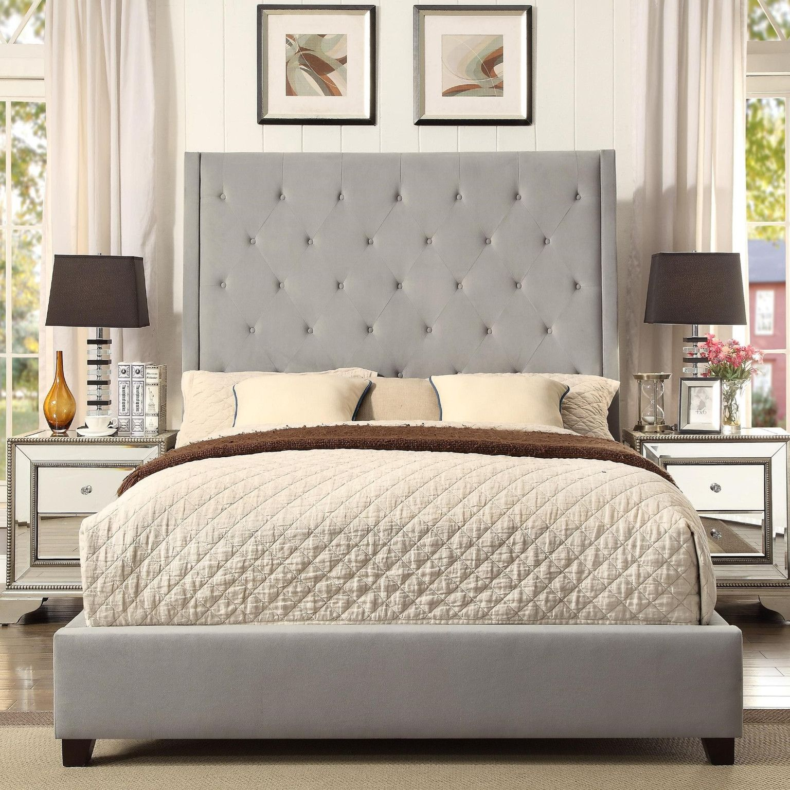 Reese Bed Diamond Tufted in Grey Queen $399.00 92\