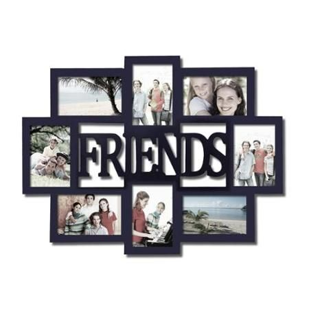 Adeco Friends 8 Opening Black Wooden Photo Collage Frame