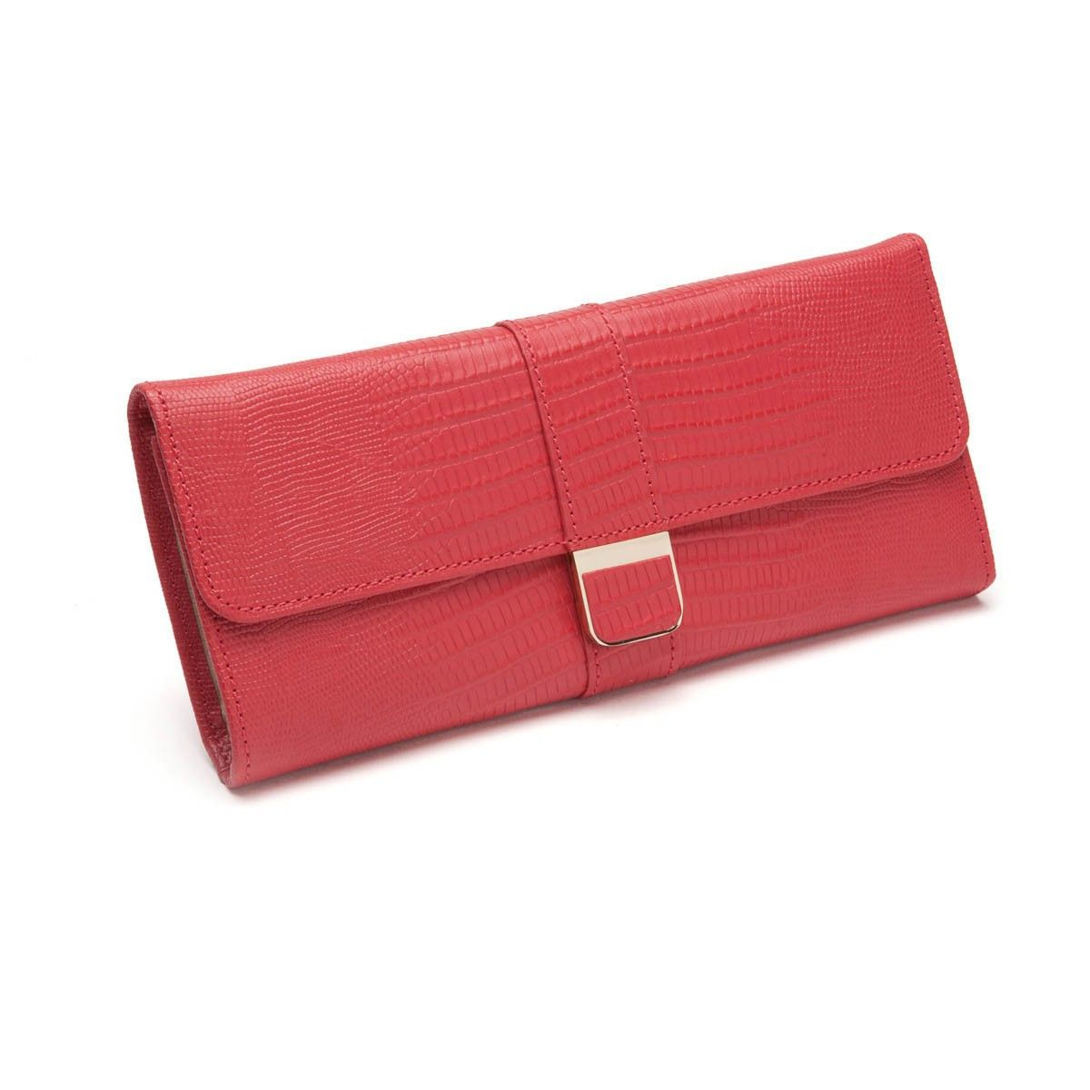 Palermo Leather Jewelry Roll in Coral Designer Jewelry Rolls