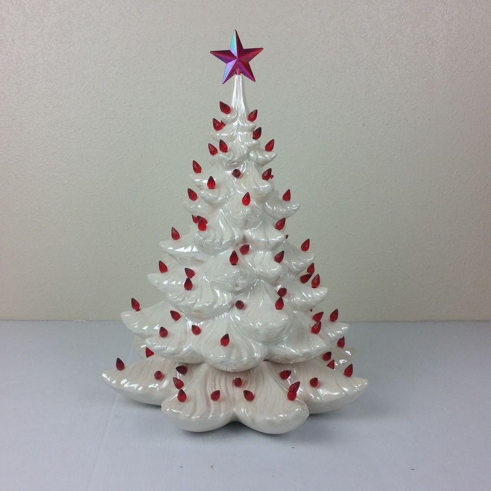 Vtg White Atlantic Mold Pearl Iridescent Ceramic Christmas Tree 16 5 In No Base Atlanticmold Ceramic Christmas Trees Christmas Tree Christmas Holidays