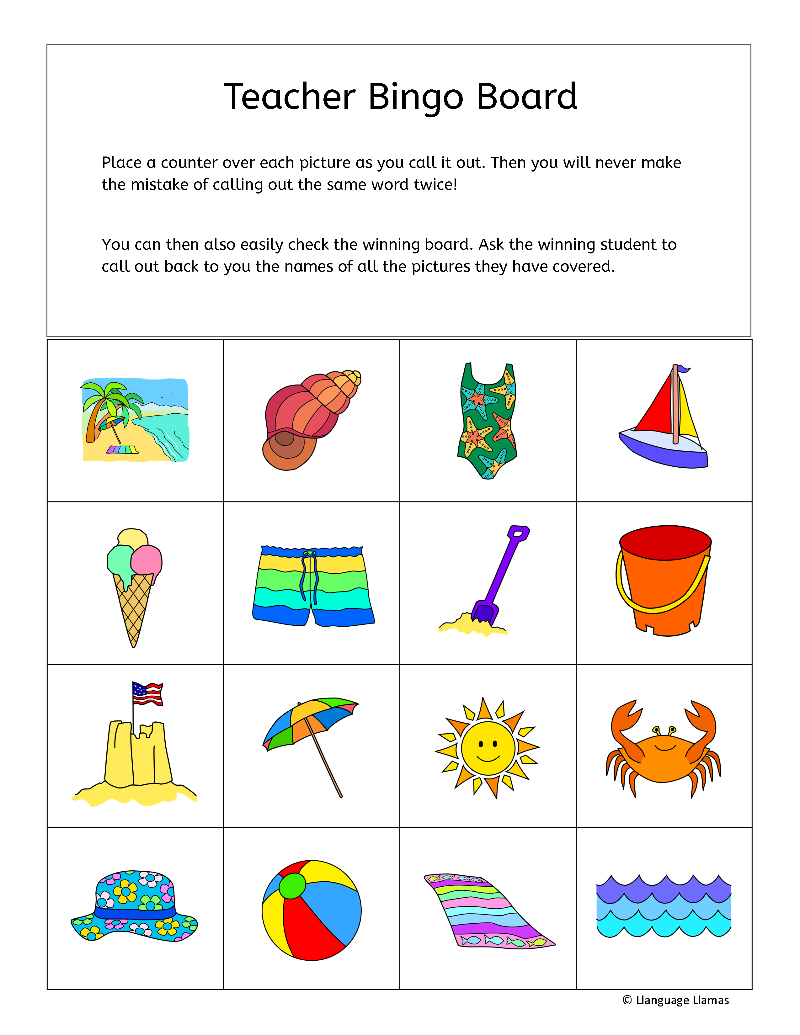 Great For A Summer Project Or For Practicing Beach Vocabulary In Any Language This Set Includes 30 Color Bingo Game Boar Substitute Lessons Small Groups Vocab [ 3300 x 2550 Pixel ]