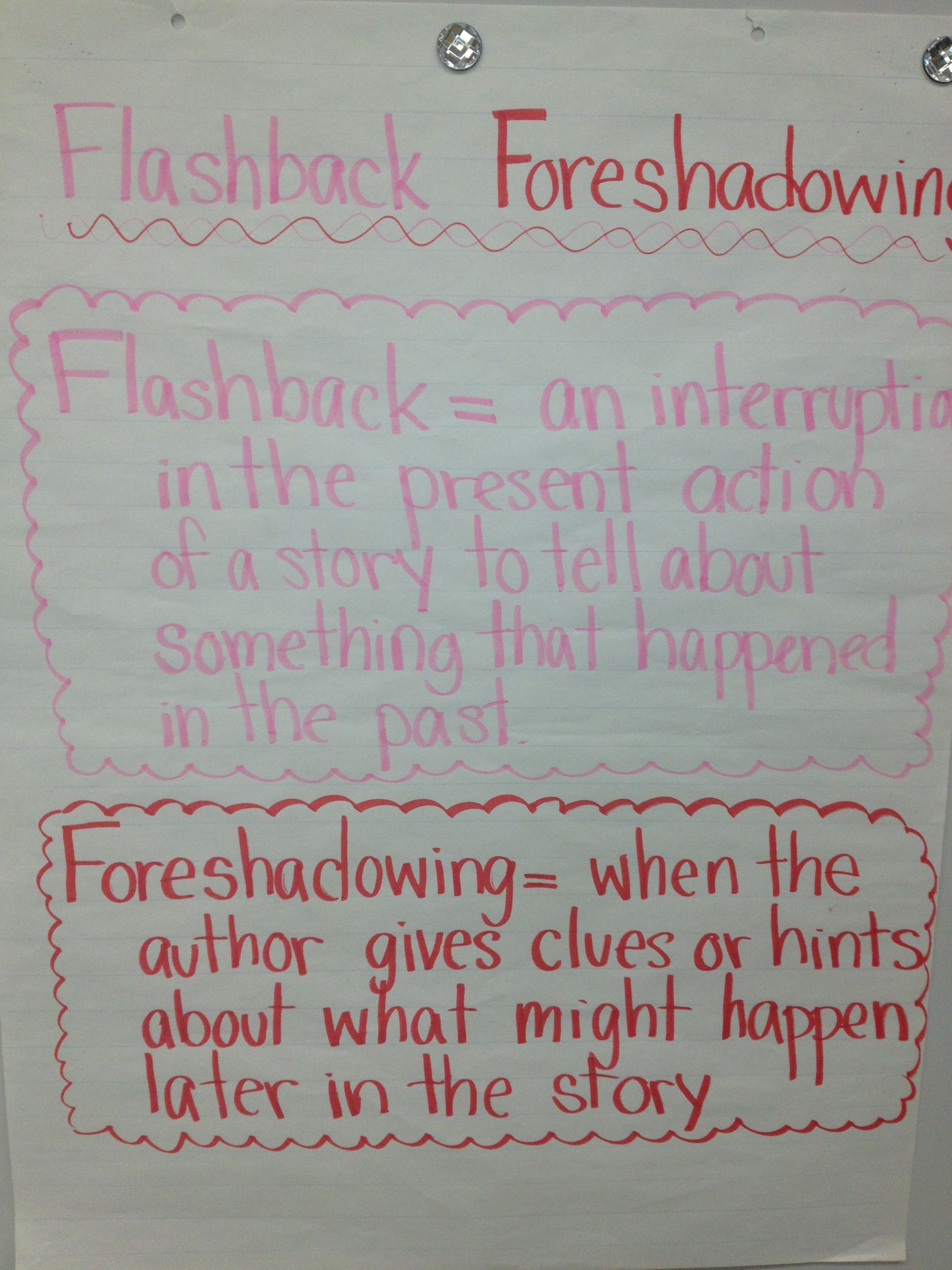 13 Foreshadowing/Flashback - Reading ideas   reading anchor charts [ 3264 x 2448 Pixel ]