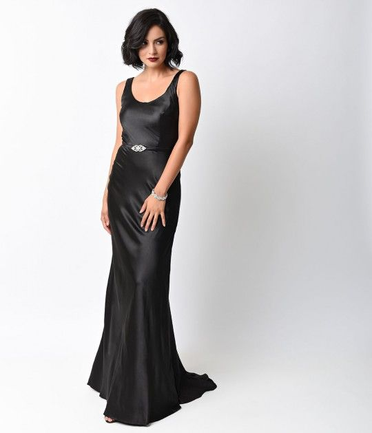 Iconic by UV 1930s Black Satin Ellington Deco Bias Cut Gown