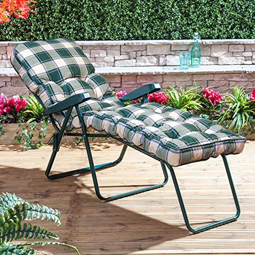 Classic Sun Lounger Cushion in Green Check Alfresia https