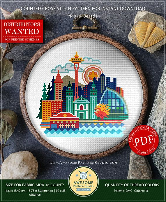 Seattle Cross Stitch Pattern For Instant Download P076 Easy Cross